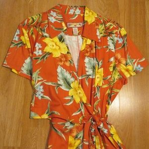 *NWOT* Caribbean Joe Wrap Dress Tropical Print